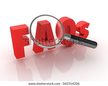 FAQs Word with Magnifying Glass - High Quality 3D Render  - stock photo