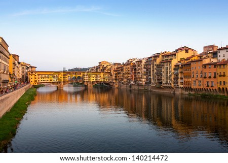 Far view in the evening of Ponte Vecchio in Florence