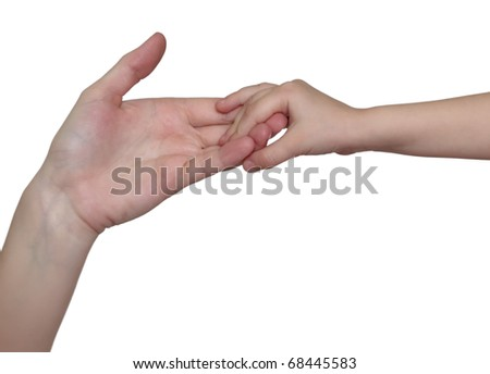 Farewell of mother with daughter.  On white background. - stock photo
