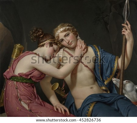 Farewell of Telemachus and Eucharis, by Jacques-Louis David, 1818, French painting, oil on canvas. Telemachus (right) was the son of Odysseus. His love, the nymph Eucharis cries, as he ends their rom