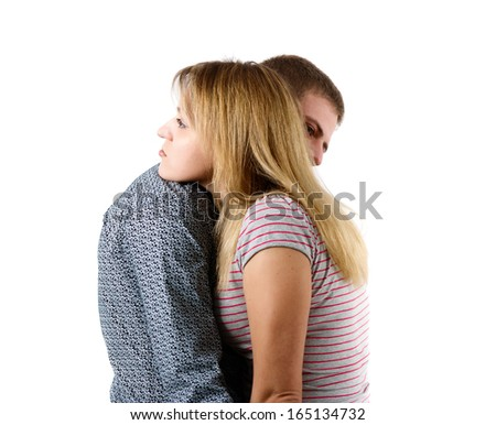 Farewell young couple on a white background - stock photo