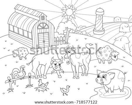 Farm Animals And Rural Landscape Coloring Book For Adults Raster Illustration Anti Stress