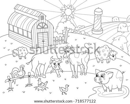 Farm Animals Rural Landscape Coloring Book Stock Illustration ...