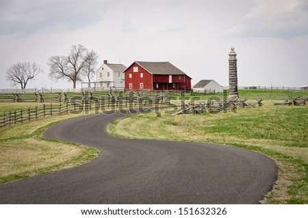 Farm buildings at Gettysburg National Military Park, Pennsylvania near the intersection of Sickles and United States Avenues in early spring.