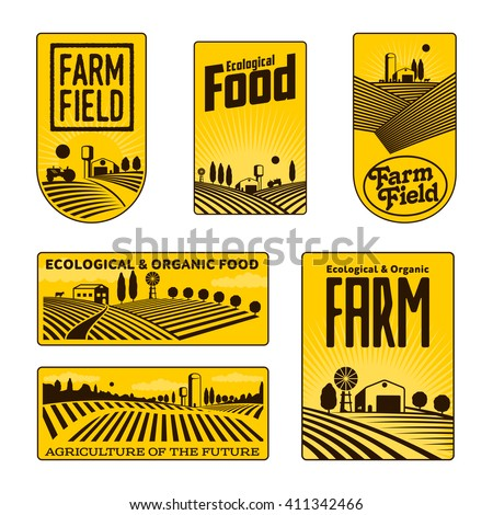 Farm field labels set of logos farming, yellow field with a barn, land and trees, badges with fields fermpeskie yellow badges isolated on white background, farm landscape, kid farm labels logo icon - stock photo