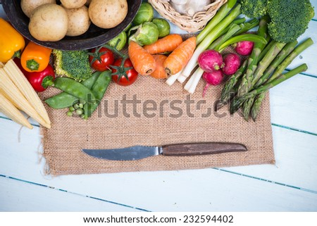 farm fresh market vegetables on wooden background - stock photo