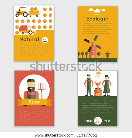 Farm fresh natural ecologic livestock animals brochure set isolated  illustration - stock photo