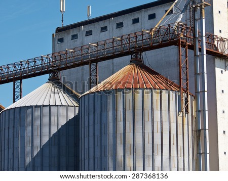 Farm grain silo agriculture industrial production image       - stock photo