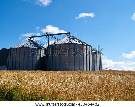 Farm grain silo agriculture production image - stock photo