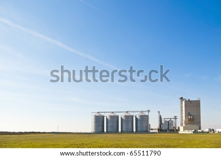 farm grain silos for agriculture - stock photo