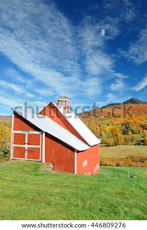 Farm house in countryside view of Stowe with Autumn mountains and forest - stock photo