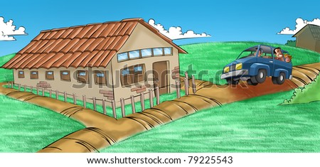 farm house with a road and a car is passing near - stock photo