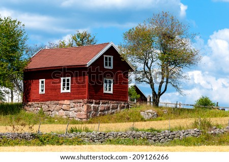Farm in the country side of southern Sweden, Smaland, near  Ingatorp, in the highlands of Smaland. - stock photo