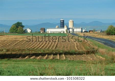 Farm in winter, Adirondacks, Vermont - stock photo