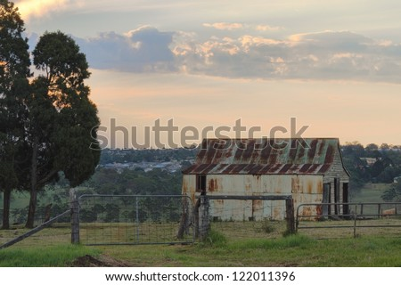 farm shed at sunset darling downs australia - stock photo
