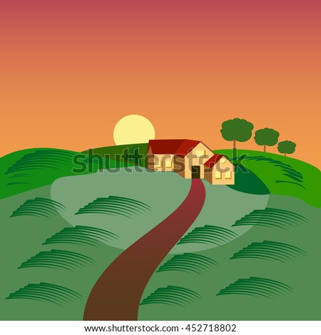 Farm with the house, barn and green seeding field, landscape at sunset.