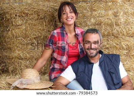 Farmer couple - stock photo