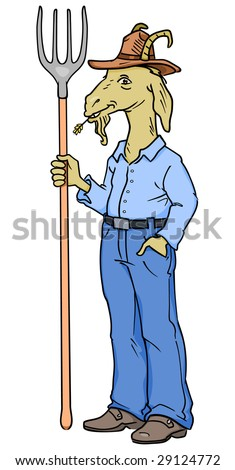 Farmer goat character standing with pitchfork in hand. - stock photo