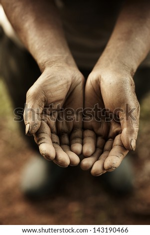 farmer hands. - stock photo