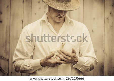 Farmer Holding a Baby Turkey in its hand - stock photo