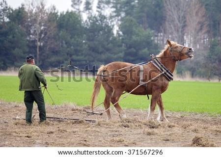 Farmer plowed field horse - stock photo