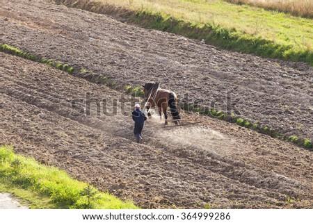 farmer plowing a field horse - stock photo
