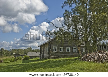 Farmer's wooden house in northern russian village, near Kargopol
