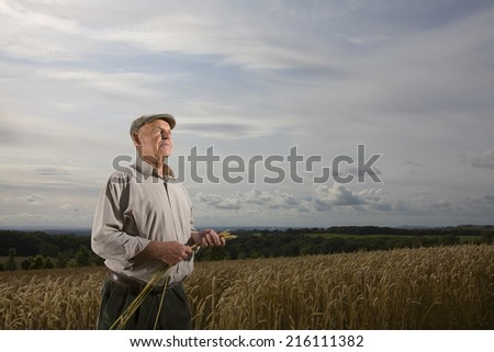 Farmer standing in wheat field - stock photo