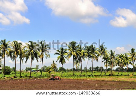 Farmer using tractor plowing the land for the rice plantation season - stock photo
