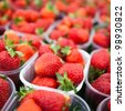 farmers market series - fresh strawberries - stock photo