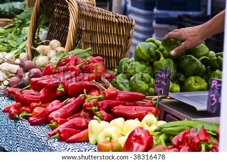 Farmers market with basket - stock photo