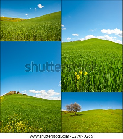Farmhouse and Green Sloping Meadows of Tuscany, Set - stock photo