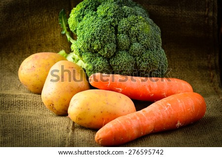 Farmhouse fresh and earthy vegetables. - stock photo