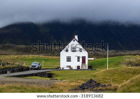 Farmhouse in remote parts of Iceland - stock photo