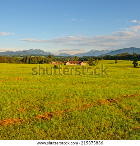 Farmhouse in the Bavarian Alps, Germany, Instagram Effect - stock photo