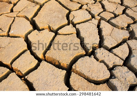 Farmland crack by drought in Vietnam - stock photo