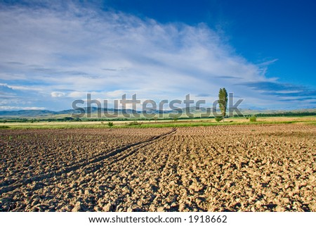 Farmland in countryside, Macedonia - stock photo