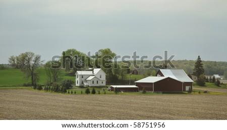 farmland in the prairies - stock photo