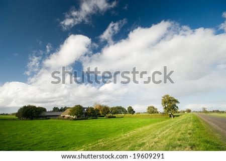 farmland landscape in the netherlands - stock photo