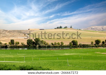 Farmland with one field being watered by center pivot irrigation in the background versus a second green field with sprinkler irrigation in the foreground in a scenic rural landscape - stock photo