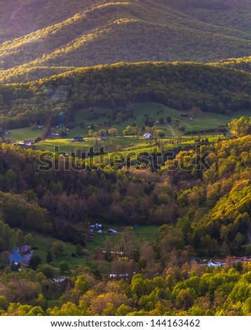 Farms and houses in the Shenandoah Valley, seen from Skyline Drive in Shenandoah National Park, Virginia. - stock photo