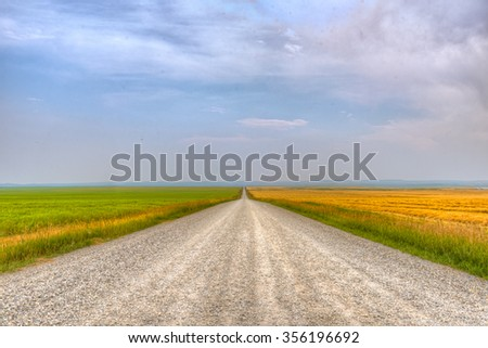 Farmstead in rural Southern Alberta Canada - stock photo