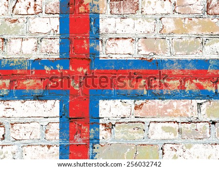 Faroe Islands flag painted on old brick wall texture background - stock photo