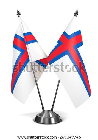 Faroe Islands - Miniature Flags Isolated on White Background. - stock photo
