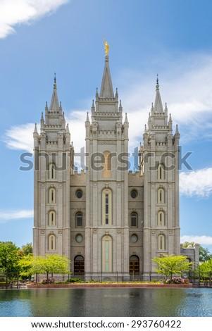 Fascade of Salt Lake Temple - Utah - stock photo