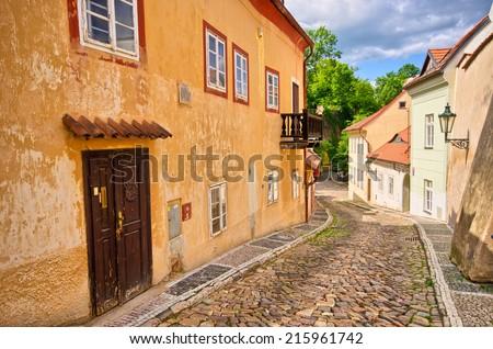 Fascinating narrow street - Novy Svet, Prague, Czech Republic - stock photo