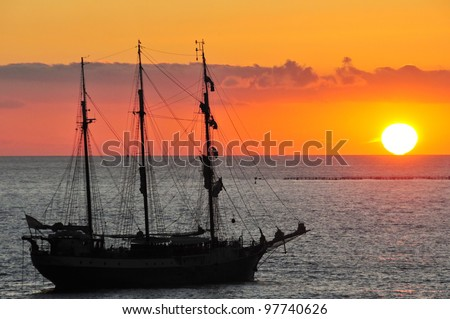 Fascinating sunset and the piracy ship
