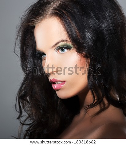 Fascination. Sophistication. Profile of Luxurious Lovely Brunette - stock photo