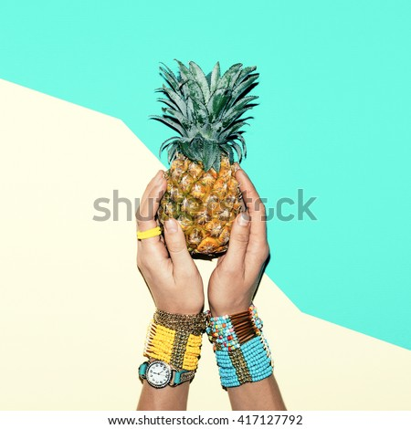 Fashion Accessories . Bracelets and Jewelry. Be bright Summer Lady - stock photo