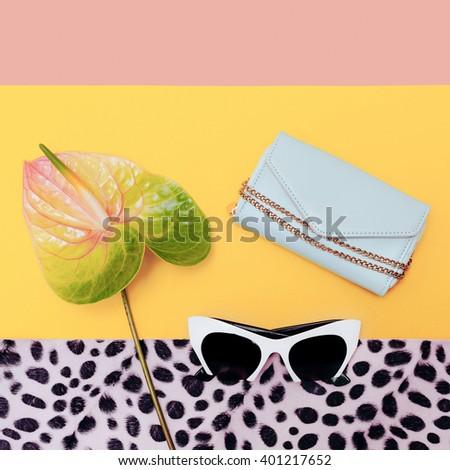 Fashion Accessories Season. Stylish Sunglasses and Purse. Vanilla trend - stock photo
